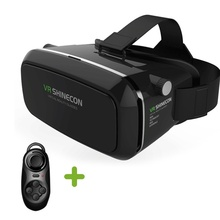 VR Virtual Reality 3D Glasses Headset Oculus Rift Head Mount 3D Movies Games For 3.5-6.0 inch Phone + Bluetooth Remote Control