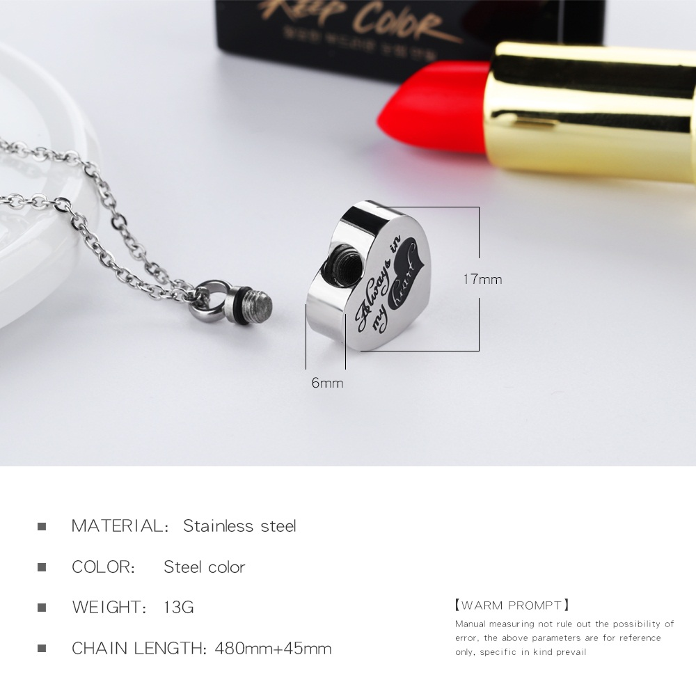 China Wholesale Jewelry Stainless Steel Open Heart Memorial Ash Cremation Urn Pendant