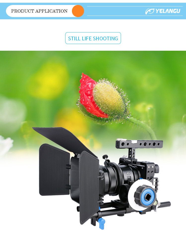 YELANGU Hot Selling Professional Filming Equipment DSLR Camera Cage Kit With Matte Box , Follow Focus For A6000,A6300,A6500