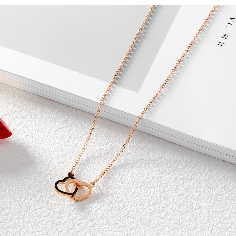 Wholesale New Design Women Jewellery Custom Double Heart Shaped Necklace
