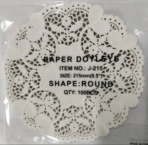 "4.5/"" Ivory//Off White Heart Round Lace Design Paper Cake Doilies in Different QTY"