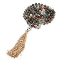 New 108 Natural Stone Beaded Necklaces Bohemian Fringed Buddha Head Pendant Knotted Long Necklace
