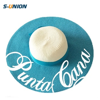 4d930c2db34 Wholesale custom printed ladies elegant summer sun hat beach sombrero big  brim floppy straw hats for