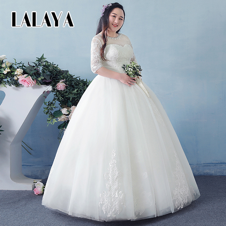 New winter Korean version Ankle Length Large size Long sleeves wedding dress