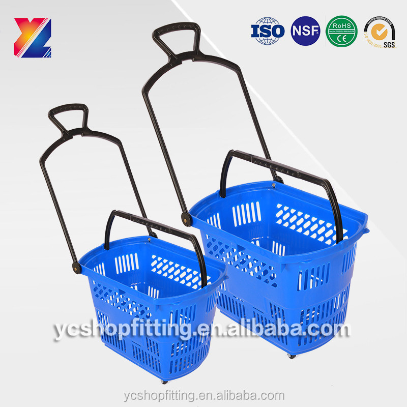 Factory good price plastic trolley shopping basket with wheels