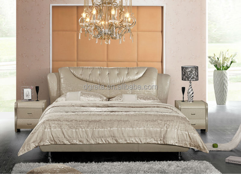 2014 New Design Elegant Leather Bed Was Made From Solid Wood Frame And Genuine For
