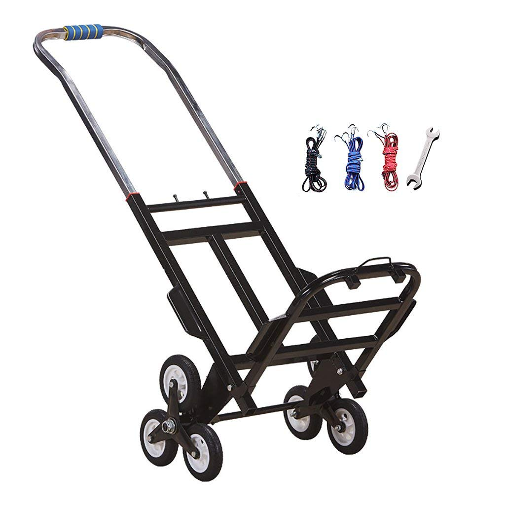 Climbing stairs cart Shopping cart Trolley Load 100 kg Durable Folding Shopping Travel Household 23cm Rubber wheel Black steel frame