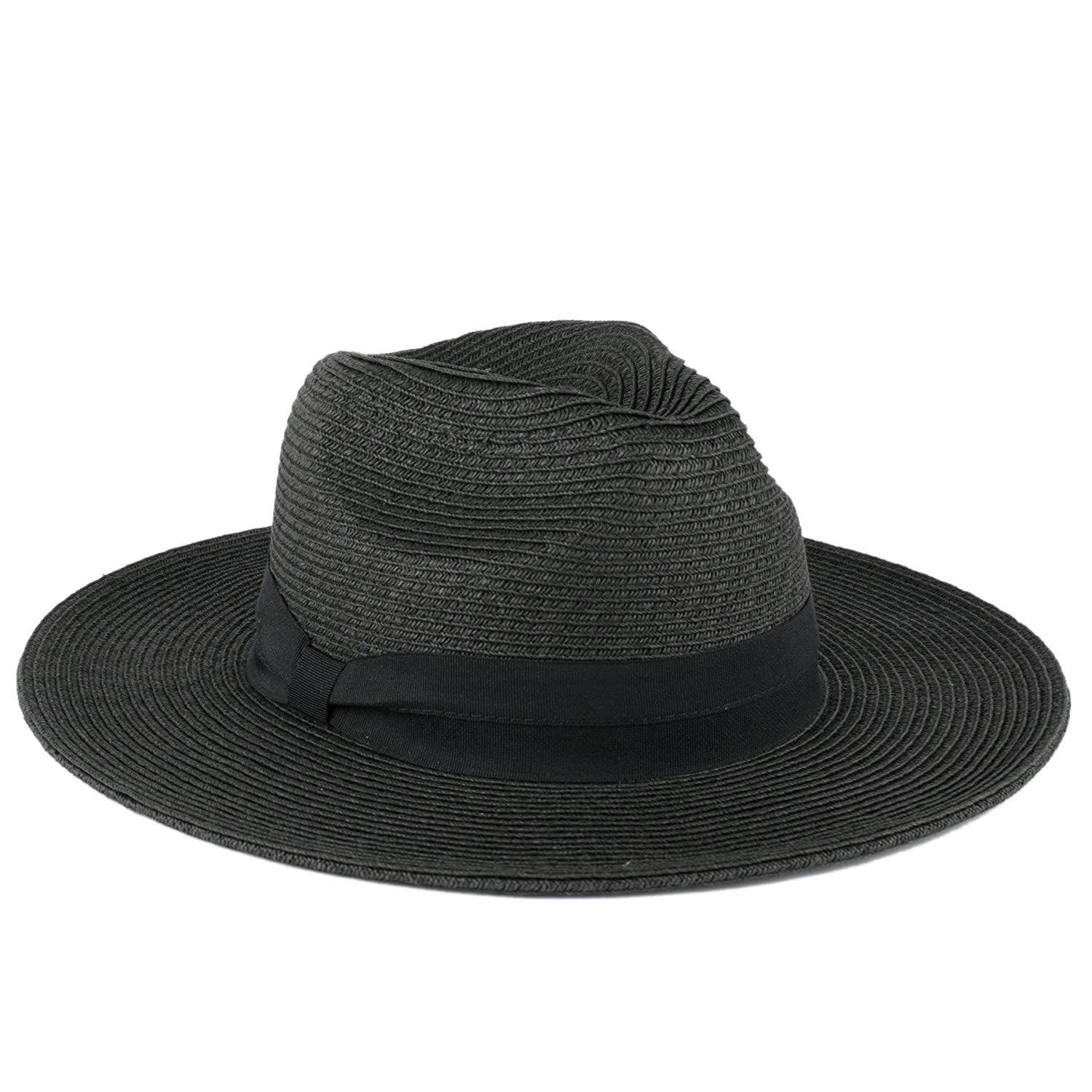5bf82f4c188 Get Quotations · Wide Brimmed Summer Fedora Hat with Black Grosgrain Band