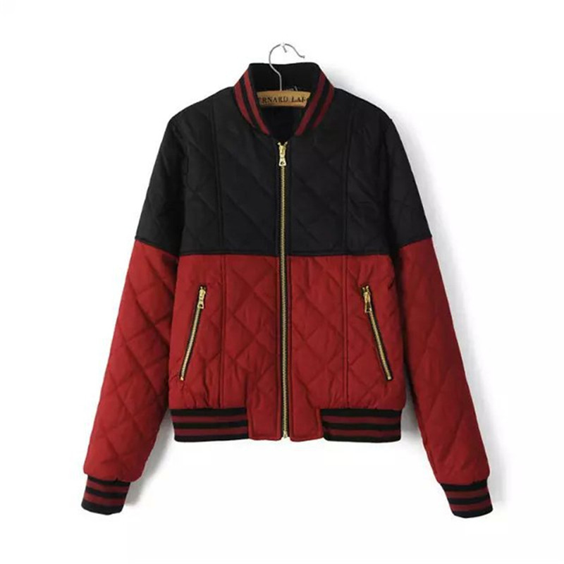 2015 Autumn Jackets Women Lightweight Bomber Quilted Jacket Coat Zipper Cotton Padded Slim Winter Fall Jackets For Woman