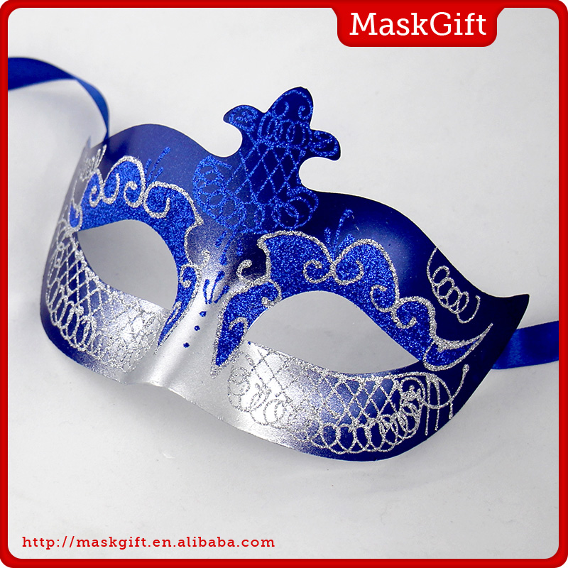 Simple design blue plastic masquerade party mask for man AA002A-BLS