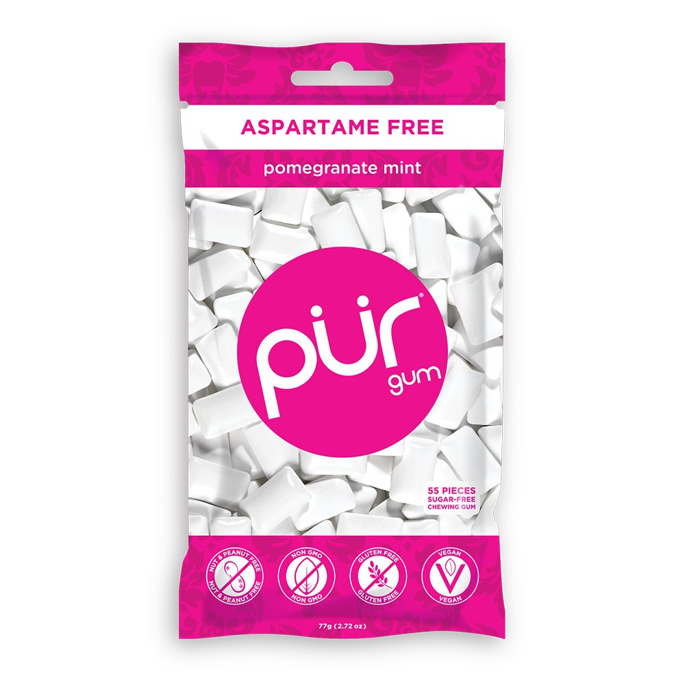 PUR Gum, Pomegranate Mint, 55 pieces - Aspartame Free, Sugar Free, 100% Xylitol, Natural Chewing Gum, Non GMO, Vegan