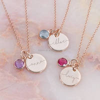 Handmade Jewelry Personalised Initial Birthstone Necklace Yellow Gold Charm Necklaces