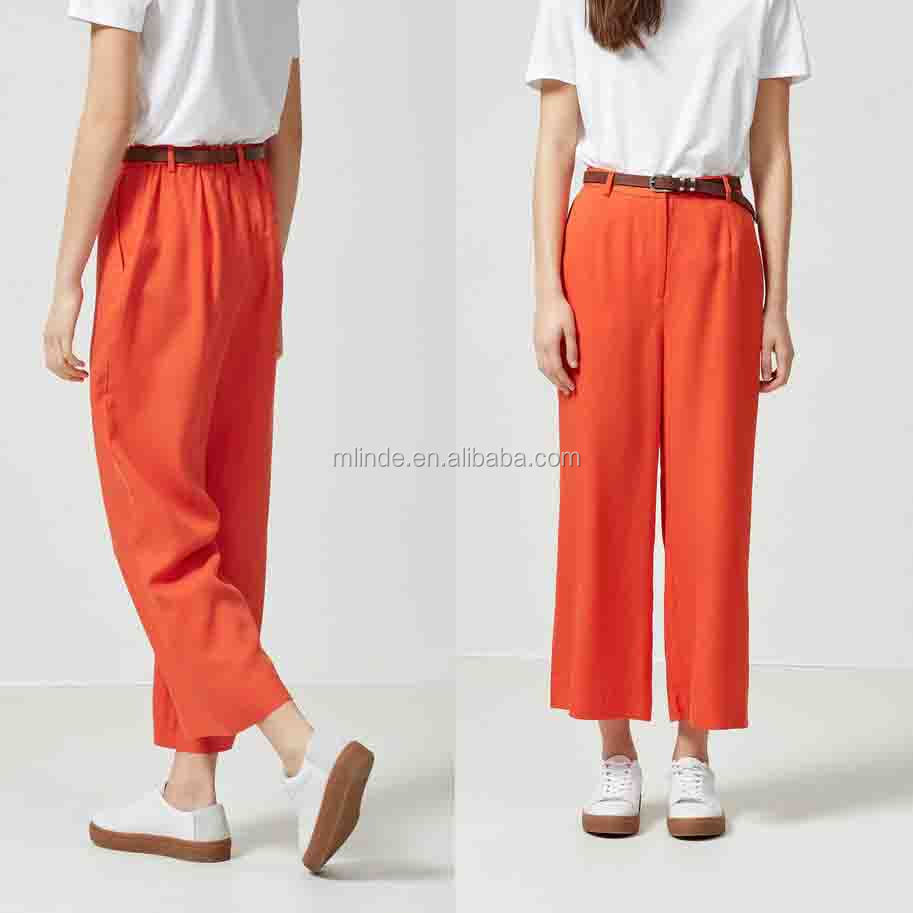 Ladies Trousers Designs Cropped Women Pants and Trousers Plain Dyed Solid Trousers Wholesale Custom