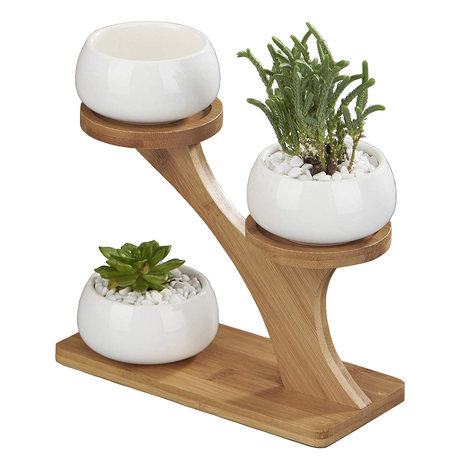 Flowerplus Planter Pots Indoor, 3 Pack 3 inch White Ceramic Decorative Small Round Succulent Cactus Flower Plant Pot with Tree Tier Bamboo Stand for Indoors Outdoor Home Garden Kitchen Decor