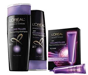 L'Oreal Volume Filler Thickening Shampoo and Conditioner 12.6 fl oz each and Volume Filler Fiber Amplifying Concentrate 0.5 fl oz