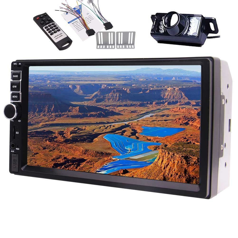 Rear View Camera Included!!! EinCar Audio Player Double Din, Capacitive Touchscreen, Bluetooth, FM Radio Car Stereo, 7 Inch Digital LCD Monitor, Steering Wheel Control, Wireless Remote Contr