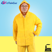 raincoat for heavy rain yellow or green color in material PVC/PU polyester