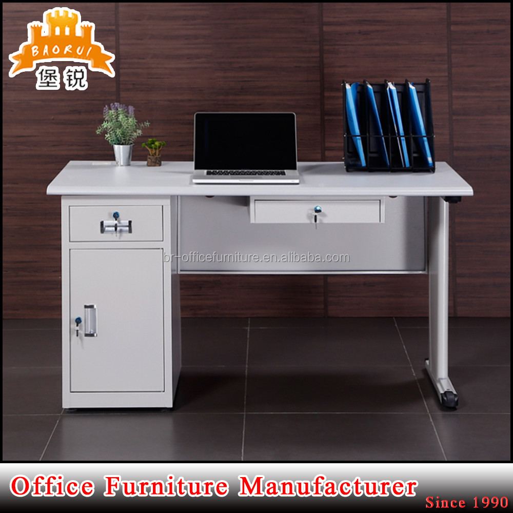 JAS-049 China metal 1 shaped office reception desk with MDF TOP