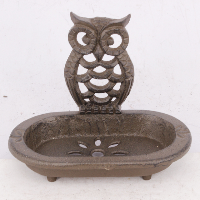 Antique Cast Iron Metal Arts And Crafts Owl Soap Dish For Home Decor