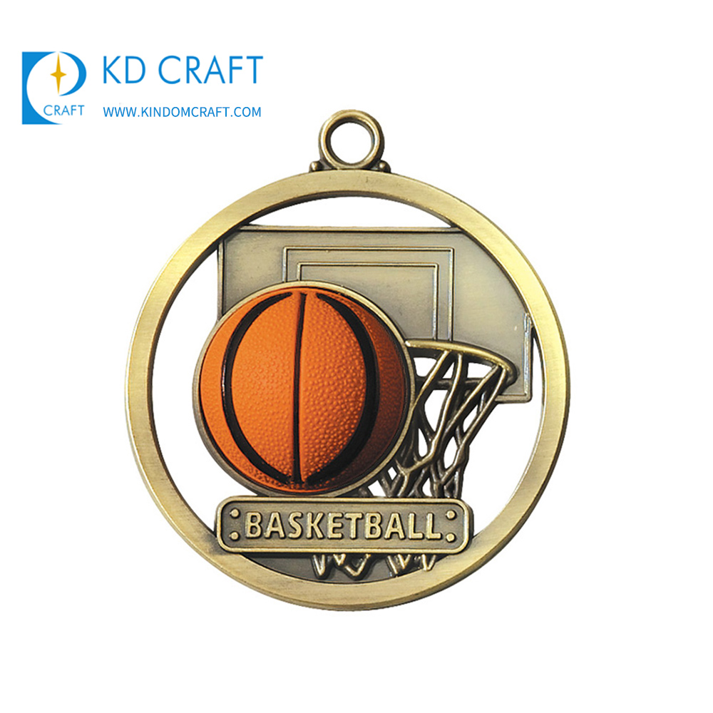 High quality custom metal brass circle shaped hollow out basketball medals and trophies made in china