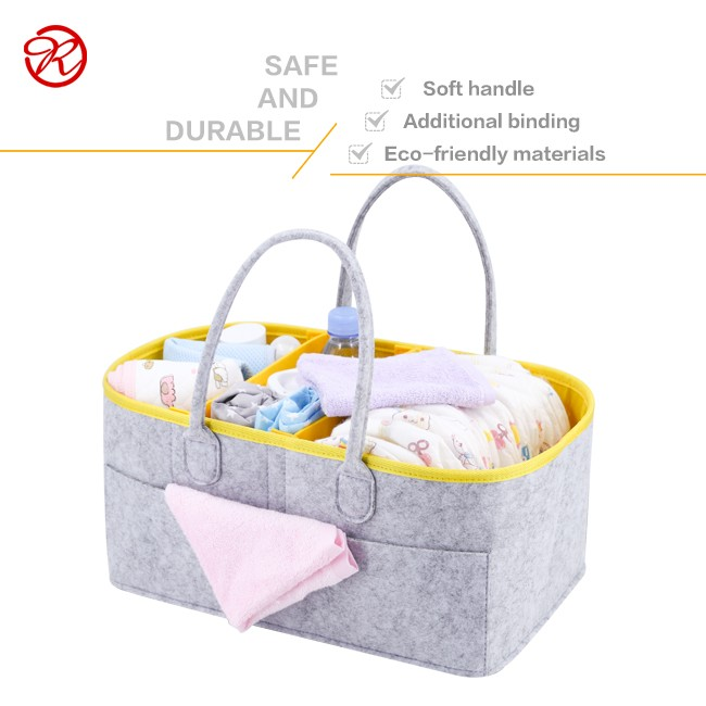 Felt cloth baby diaper bag Large Removable Felt Diaper Bag  with Portable Changing Pad