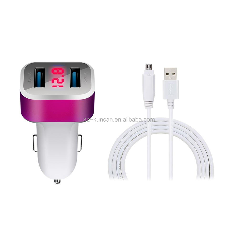 Universal Current Display Dual USB 5 port usb car charger usb hub DC 5V 3.1A/ 1.0A Car Battery Charger