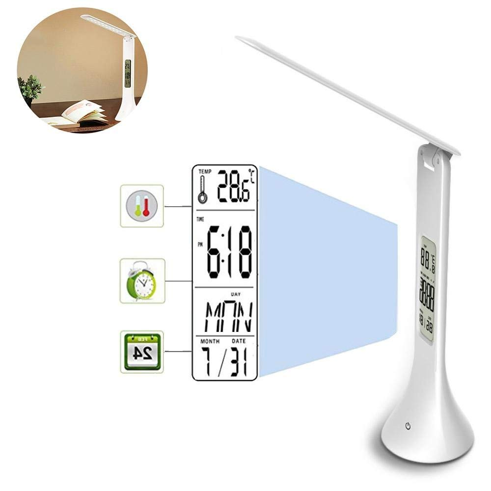 Slimline LED Table Lamp, 3.5W Eye-caring Fording Cordless LED Desk Lamp with Touch Control 3 Levels Dimmable Brightness, LCD Screen for Alarm Clock Calendar Date Temperature, USB Rechargeable