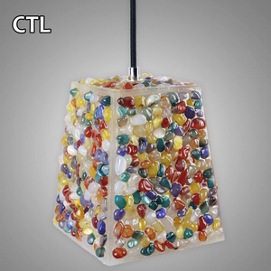 Wholesale seaside style pendant lights chandeliers multicolored stone made tiffany lamp