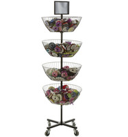 4 Tiers Movable Spinning Basket Display Stand For Garment/Socks/Accessories-Black Metal
