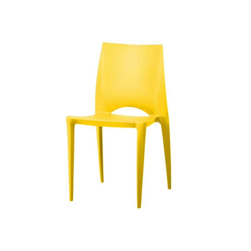 2017 Shanghai Fair French Style Model Yellow Stable Plastic Dining Chair