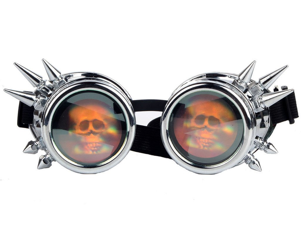 Lelinta Halloween Spiked Vintage Steampunk Goggles Glasses Welding Cyber Punk Gothic With Skull Lens