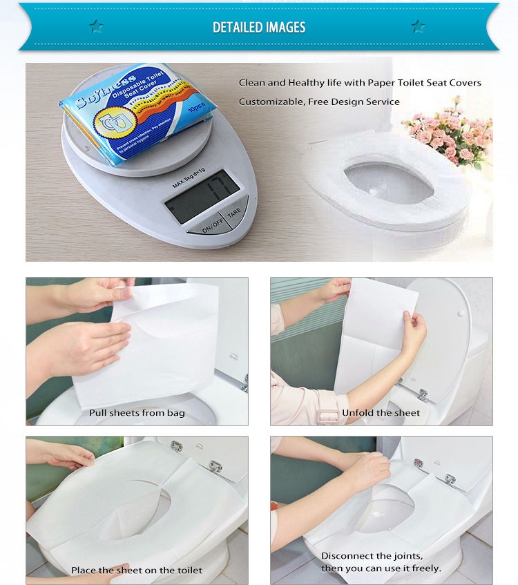 custom made printed disposable flushable 1ply 1/16 fold paper toilet seat cover