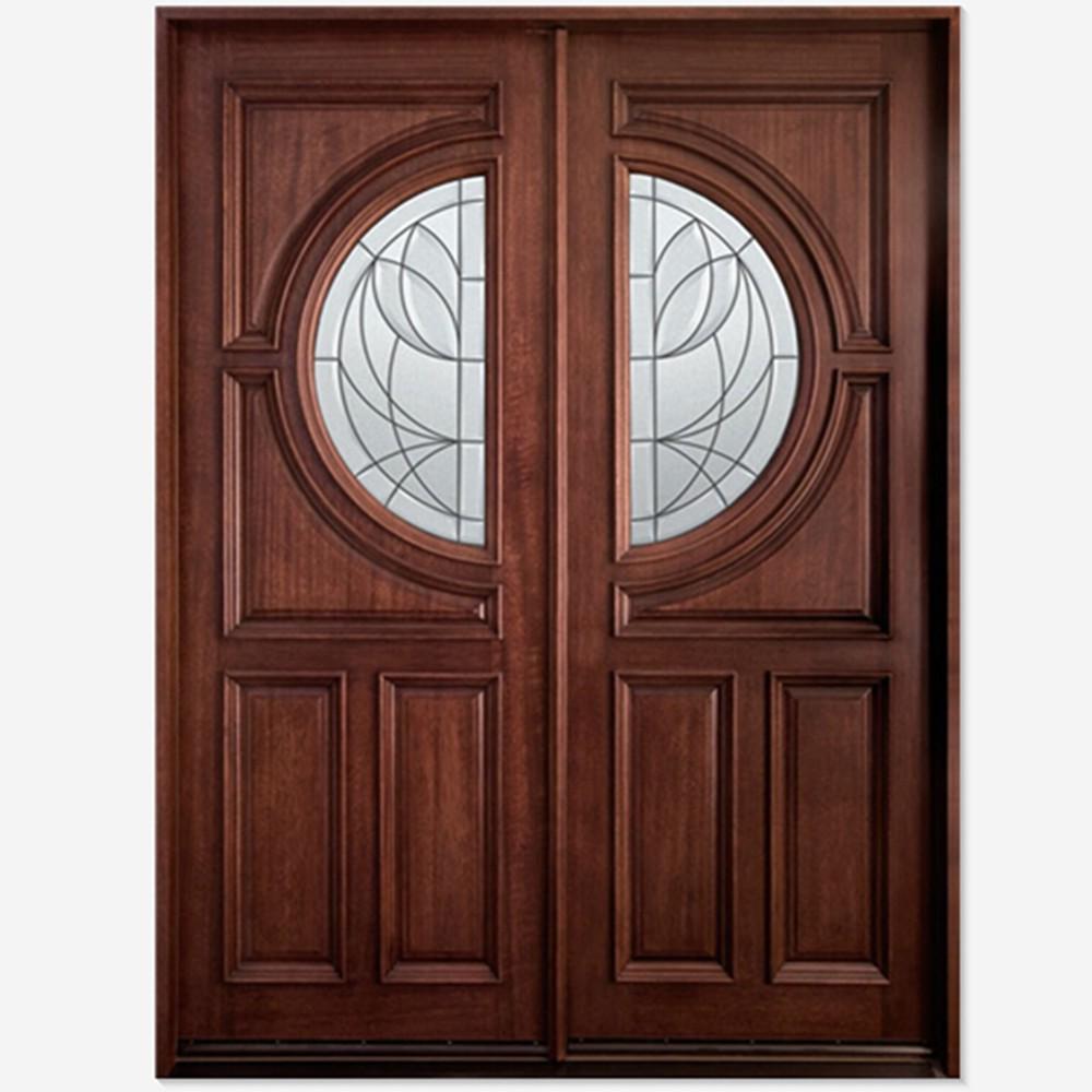 Doble puerta de vidrio con forma de media vuelta m s for Puertas con vidrio y madera