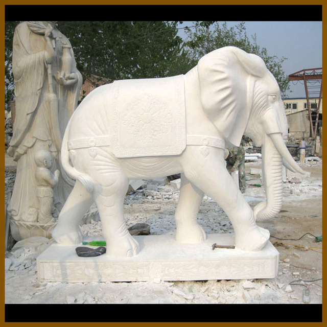 China Life Size White Stone Elephant Stone Statue For Garden Ornament