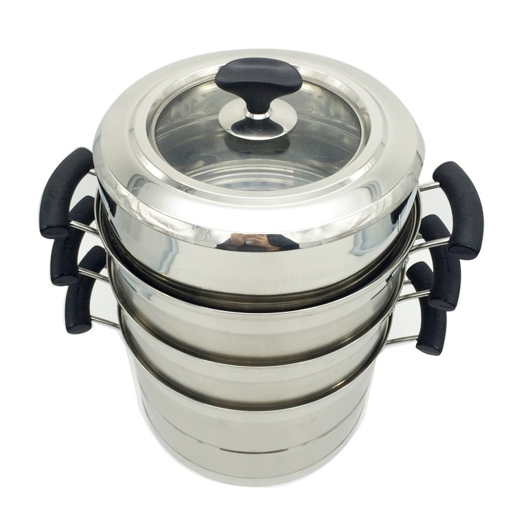 3 Tiers Large Capacity Multi-purpose Stainless Steel Industrial Food Steamer