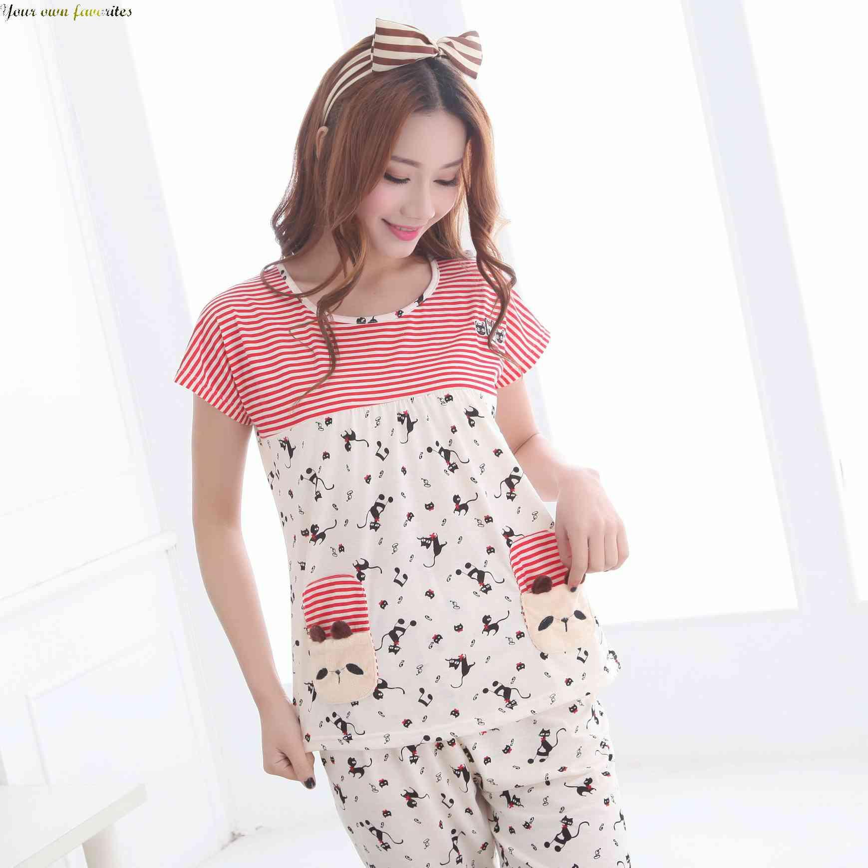 1767f90c87f6 Get Quotations · Free Shipping new 2015 summer cartoon short sleeve knit  cotton nightwear pyjamas for ladies 1433819344