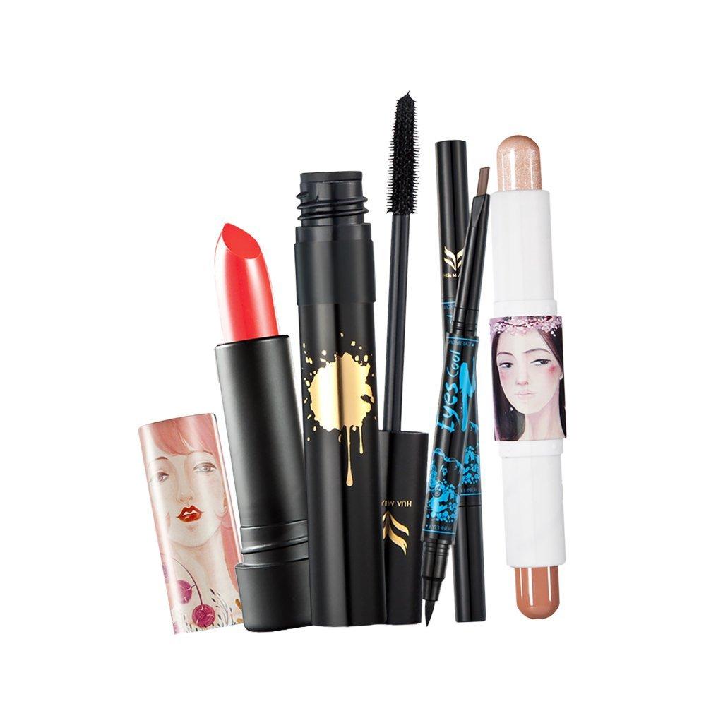 Dovewill 4 Pieces Daily Makeup Set Black Eyeliner Pencil Eyebrow Pen Red Shimmer Lipstick Face Contour Duo Stick Waterproof Black Curly Fiber Mascara Kit