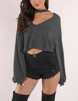 Hot Sale Wholesale Ladies Sexy Grey Attracted Choker Sweater For Women Top
