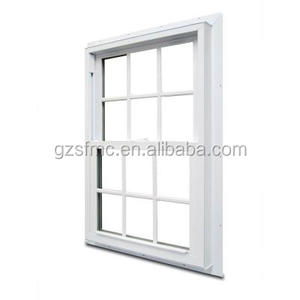 American style 70 Series Double Hung Fin Vinyl Window with Grilles - White color