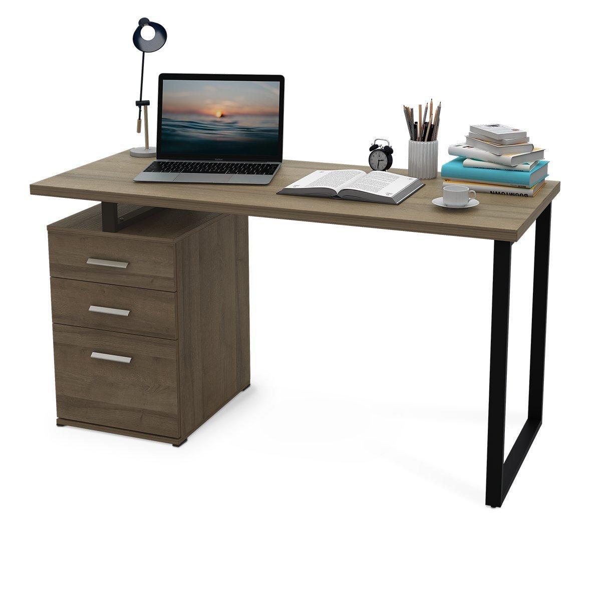 "DEVAISE Modern Computer Desk, 55.1"" Office Desk with Reversible File Cabinet"