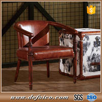 Chinese Accent Real Leather and Wooden Dining Chairs