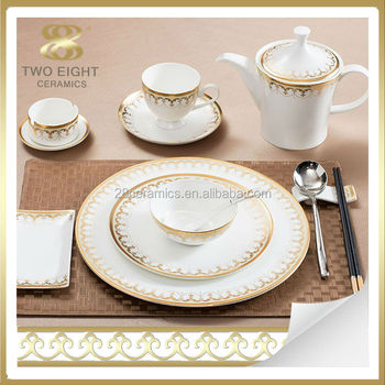 Bone china Italian style dinnerware set arabic for 6 people with gold decal : italian style dinnerware - pezcame.com