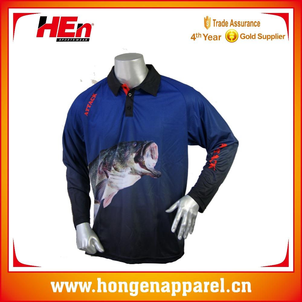 Hongen Apparel Custom Big Bass Fishing Shirtspolyester Breathable