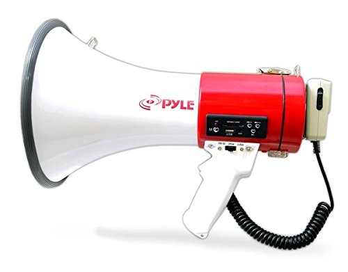Pyle Megaphone with Siren Bullhorn 50 Watt - Bullhorn Speaker with Detachable Microphone, Portable Lightweight Strap & Rechargeable Battery - Professional Outdoor Voice for Police & Cheerleading (PMP57LIA)