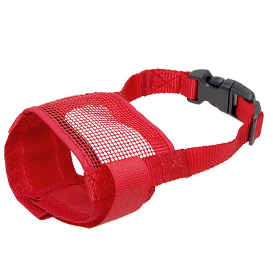 TOOGOO(R) Dog Pet Anti Bark Red Chew Mesh Muzzle Mask Size S
