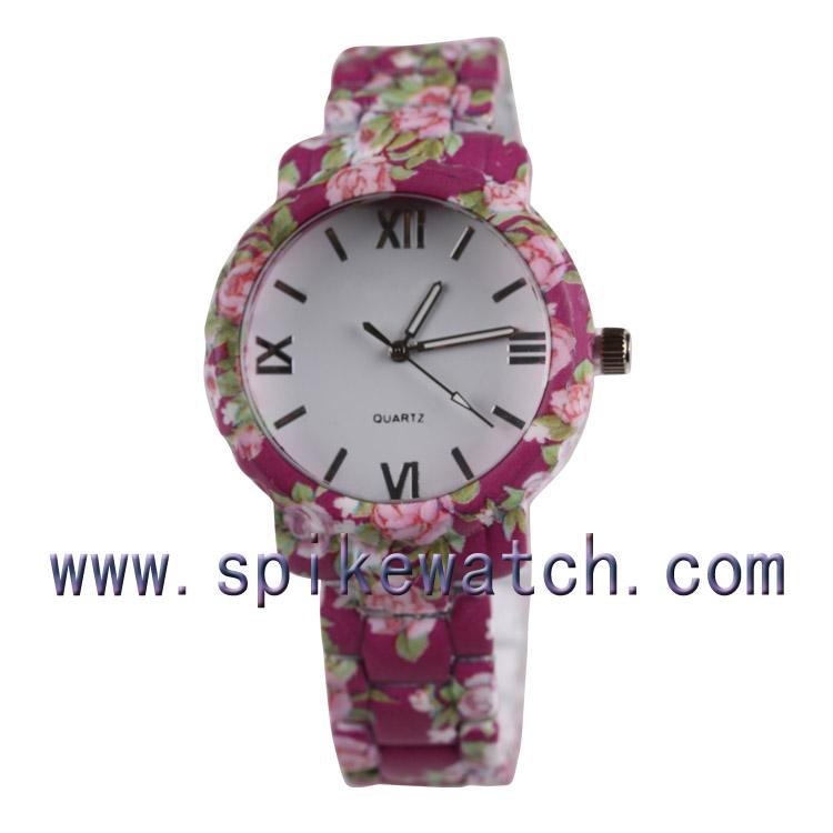 Alert The Most Hottest Floral Flower Printing Watches Wrist Watch Geneva Quartz Watch Beautiful Metal Wristwatches Watches