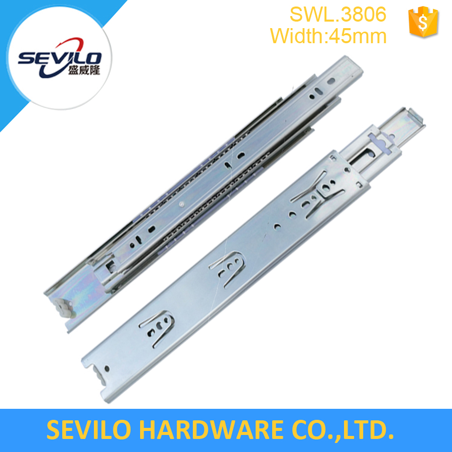 45mm Three ball bearing drawer slides telescopic channels