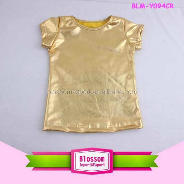 ce07a283cacfa Girls boutique clothing summer gold sequin online shopping o-neck shirt  plain children blank baby