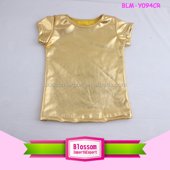 37e96d473fa3 Girls boutique clothing summer gold sequin online shopping o-neck shirt  plain children blank baby