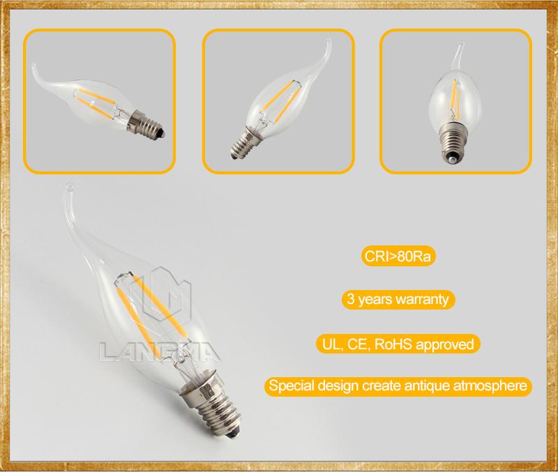 Langma Vintage Filament E12 E14 Candle Bulbs 2700k 60 Watt Led ...